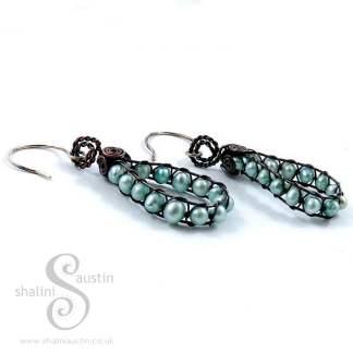 Wire Weave Freshwater Pearls Earrings - Aqua