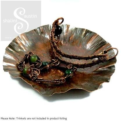Handcrafted Hammered Copper Trinket Trays, Bowls & Dishes
