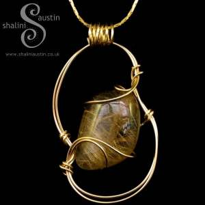 Rutilated Quartz Pendant with Gold-Fill Wire