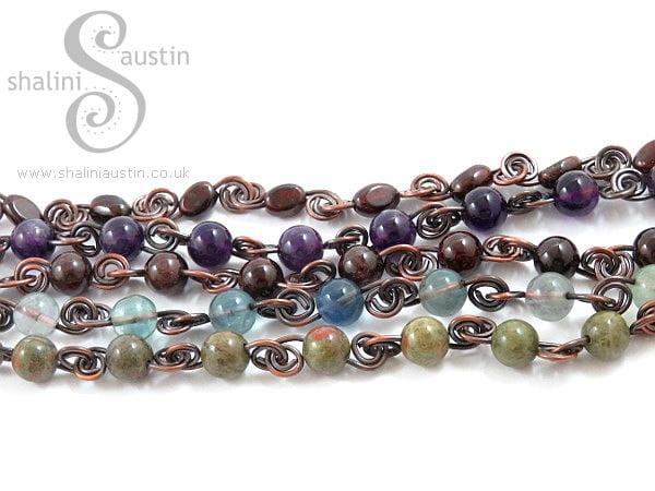 Antique Finish Semi-Precious Gemstone Beads Bracelet
