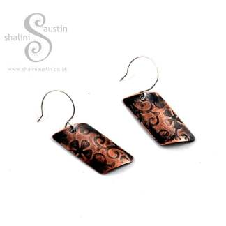 'Flora' Embossed Copper Earrings