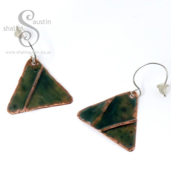 Enamelled Copper Triangle Earrings GREEN