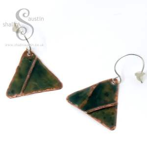Enamelled Copper Triangle Earrings GREEN