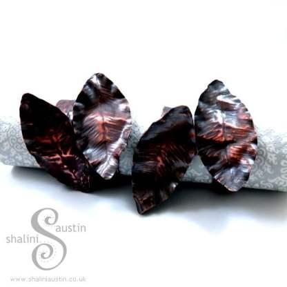 Handmade to Order – Copper Napkin Rings LEAF