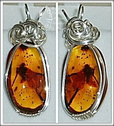 Amber and Sterling Silver Wire Wrapped Pendants