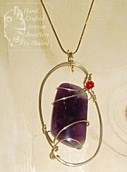 Amethyst and Coral Pendant with Gold Fill Wire