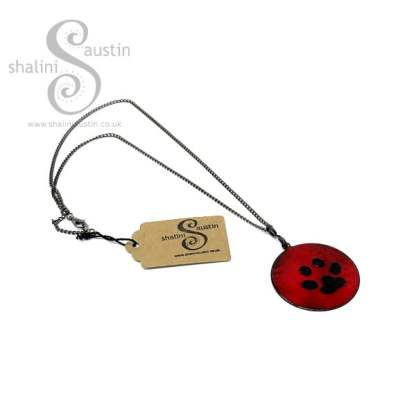 Paw Print Enamelled Copper Pendant in Bright Red and Blue-Black