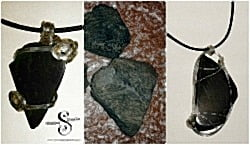St Helena Rock Pendant wrapped in silver