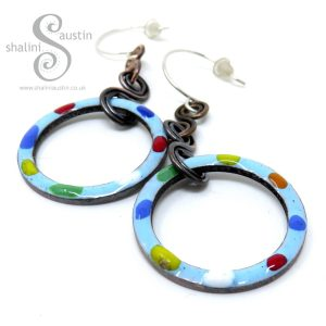 Sky Blue Green Tutti-Frutti Enamelled Copper Earrings
