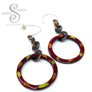 Maroon Tutti-Frutti Enamelled Copper Earrings