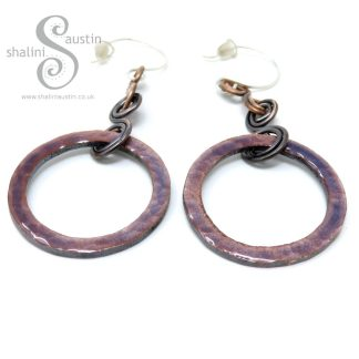 Medium Mauve Enamelled Copper Circle Earrings