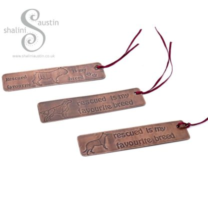 RESCUED IS MY FAVOURITE BREED Copper Bookmark - Dog