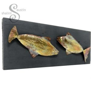 Flame Painted Fish Pair on Upcycled Wood