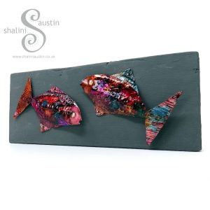 FUNKY FISH 05 on Upcycled Wood