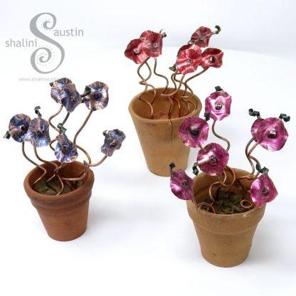 Miniature Copper Flowers in a little Terracotta Pot