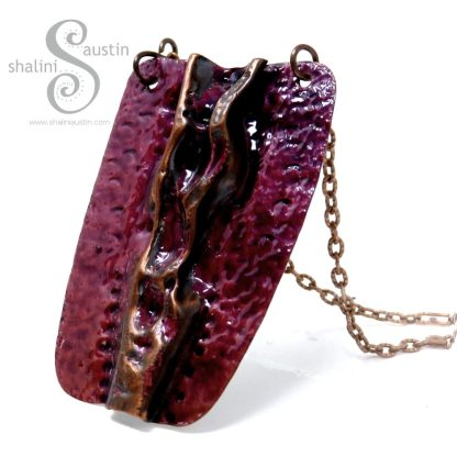 Air-Chased Enamelled Royal Purple Copper Pendant