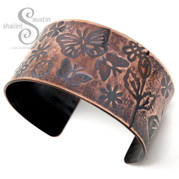Wide Embossed Copper Cuff FLUTTERBY MEADOW