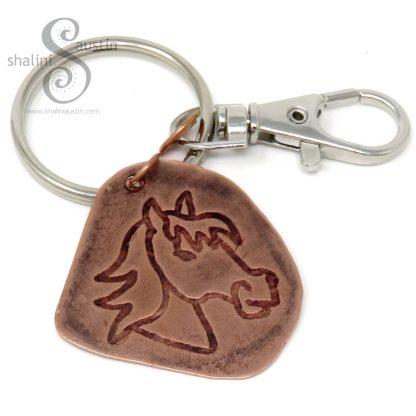 Embossed Copper Keyring HORSE