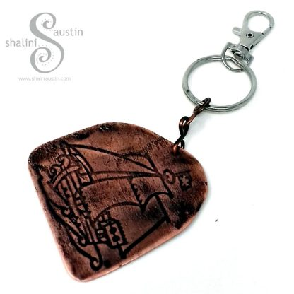 Handmade Gifts: Embossed Copper Keyring PIRATE SHIP