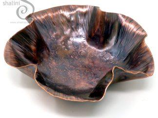 Antique Finish Beaten Copper Bowl RUFFLES (05)