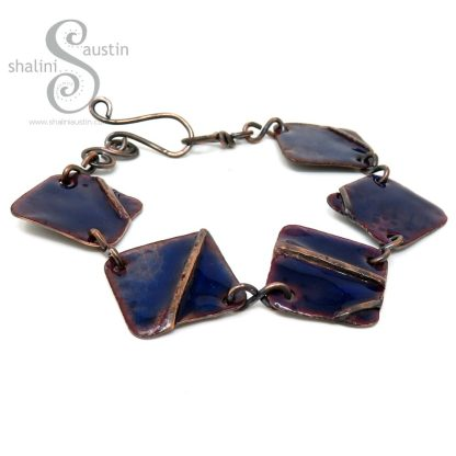 Enamelled Fold-Formed Copper Bracelet - Blue