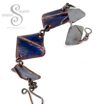 Blue Enamelled Fold-Formed Copper Bracelet