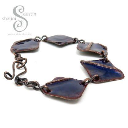 Blue Enamelled Fold-Formed Copper Bracelet