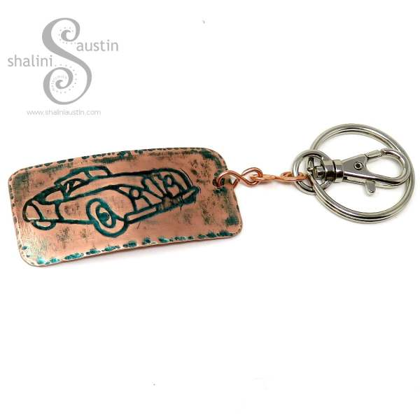 Embossed Copper Keyring CLASSIC CAR (02)