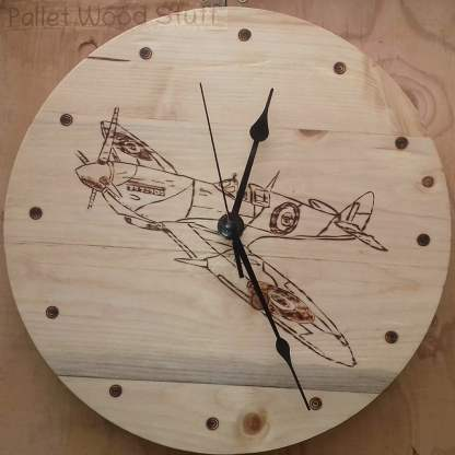 Handmade to Order - Pallet Wood Clock SPITFIRE