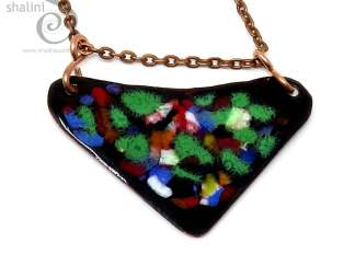 Colourful Enamelled Copper Pendant