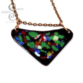Colourful Enamelled Copper Pendant