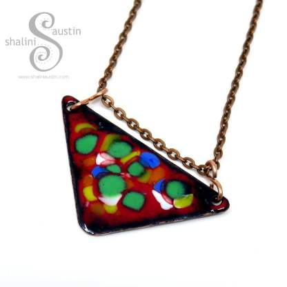 Red Enamelled Copper Triangle Pendant