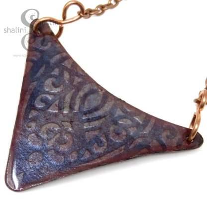 Embossed Enamelled Copper Pendant - Blue