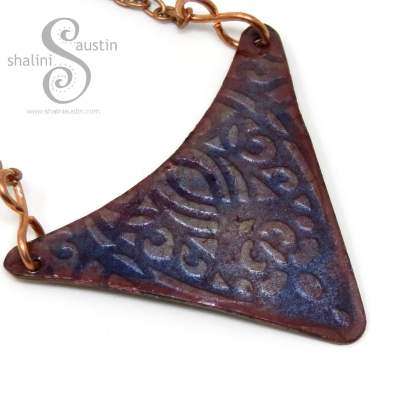 Pale Blue Embossed Enamelled Copper Pendant