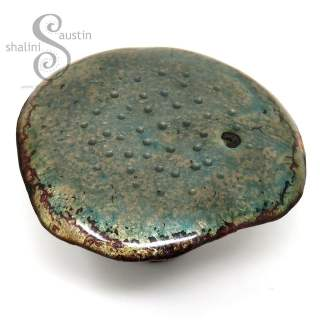 Decorative Copper Mushroom (01) - Enamelled Blue Grey