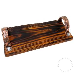 Pallet Wood Tray HONEY (01) with Copper Handles