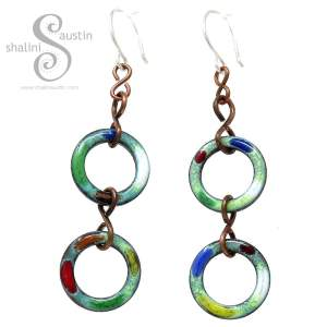 Colourful Copper Circle Earrings TUTTI FRUTTI