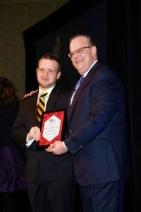 accepting the community service award at the annual Keshet banquet.
