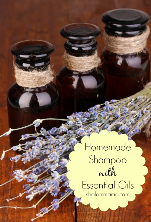 Homemade shampoo with essential oils. Super easy, natural recipe that can be customized for