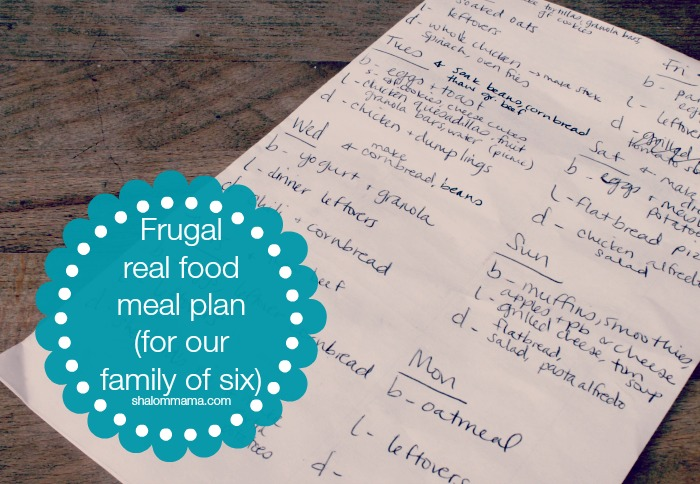 Frugal Real Food Meal Plan (for our family of six)