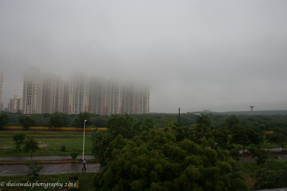I was transported to a hill station feel with the clouds hanging low over the high rises of Gurgaon.