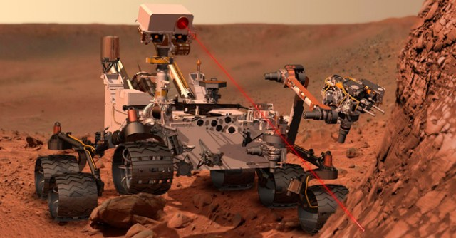 The Mars Rover depicted on a Martian-like landscape