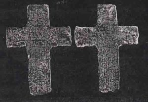 Two lead crosses, inscribed in Latin, found near Tucson Arizona