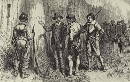 "Depiction of rescue party arriving at Roanoke colony and finding the word ""Croatoan"" cut into a tree."