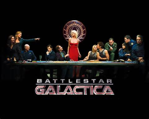 Battlestar Gallactica is a sci-fi version of the search for New Earth. Pictured is the cast of the TV series.