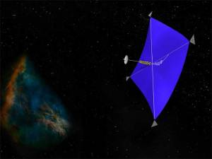 Artist's depiction of a solar sail. It could also be a laser sail.