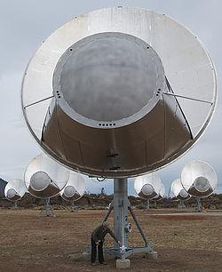 SETI alien telescope array listens for alien signals from space.