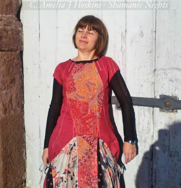 Red linen and silk Hopi dress front upper modelled doorway