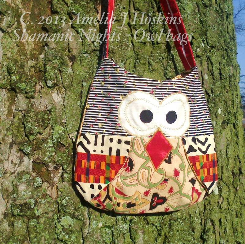 Owl bag red black cream ethnic wings red strap
