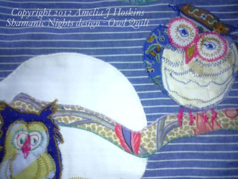 Owl quilt 1 moon branch close